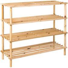 4 niveau slated chaussure rack étagères unité stand naturel nouveau titulaire par réduction de la maison