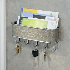 Mail Key Hanger Letter Rack Holder Hook Wall Mount Storage Organizer Metallico