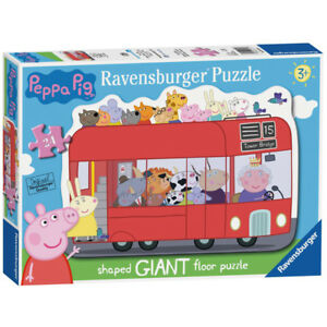 Ravensburger Peppa Pig Shaped London Bus 24 Piece Giant Floor Jigsaw Puzzle NEW