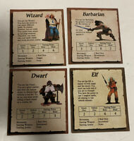 Heroquest Replacement Parts Elf Barbarian Dwarf Wizard Character Cards