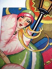 Vintage Art Deco Bridge Tally w/ Colorful 20's Woman w/ Lite Lamp Post   *