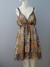 COSTA BLANCA Size L Orange Empire Waist Floral Plunging Neckline Sheer Dress