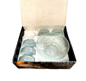 Retro Ravenhead Topaz Textured Clear Glass Dessert Bowls England 6 X INCOMPLETE