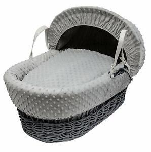 Isabella Alicia Designer Grey Wicker Moses Basket with Grey Dimple Dressing