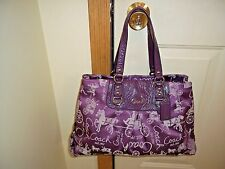 Authentic Coach Ashley Purple Horse & Carriage Sateen Carry All 15656 Rare