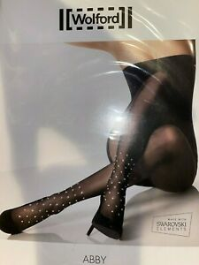 Wolford Abby Swarovski Crystal Tights Color Black Size: Small 14451 - 10