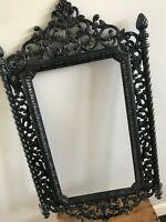 Vtg Mid Century Homco Black Plastic Gothic Baroque Ornate Picture Frame 21 x 13