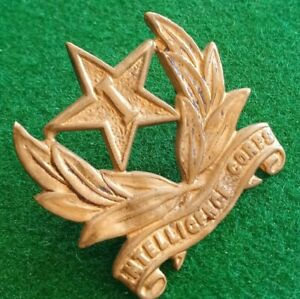 GENUINE WWII INDIAN ARMY INTELLIGENCE CORPS, GILT BRASS COLLAR BADGE