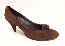 SAKS FIFTH AVENUE Size 7.5 Brown Suede Bow Knot Heels Pumps Shoes 7 1/2