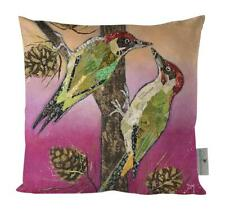 "Dawn Maciocia ""Knock Knock' Cute Woodpecker Bird Luxurious Soft Cushion"