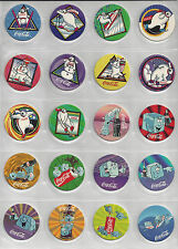 Coca-Cola Pogs Set 40 Individual + Pages and one Slammer