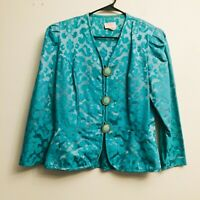 Vtg 80's Lady Carol of New York Floral Blazer Vtg Large Buttons Blue Sz 14