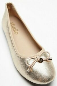 Womens Flat Gold Shoes Wide Fit Size 5 Ballerina Metallic Bow Pumps Brand New