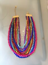 NWOT Multi Strand Rainbow Multi Color Faceted Bead Statement Necklace