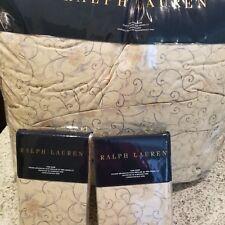 New Ralph Lauren Full/Queen Comforter and Sham Set- MADALENA AUDREY 3psc Tan