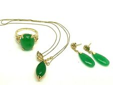 Green Gemstone Set Ring Pendant Earring 14k Yellow Gold Marquise Estate Jewelry
