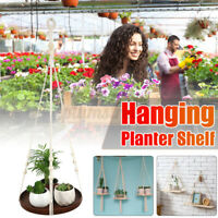 Wall Hanging Flower Pot Holder Planter Display Wooded Shelf Rack Garden Deco