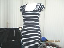 """jane norman"" ladies navy and white striped fitted dress size 14"