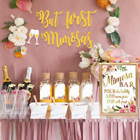 MORDUN Mimosa Bar Sign Banner Tags - Gold Floral Decorations for Bridal Shower