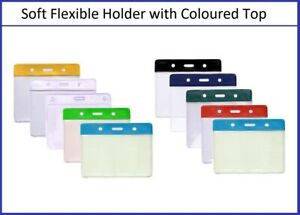 Flexible Vinyl Clear ID Card Badge Holder With Colour Top to Fit Insert 54x86mm