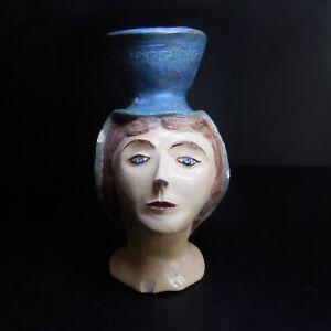 Statue sculpture tête femme autoportrait poterie céramique art déco France N7630
