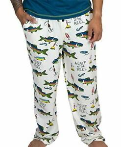 Lazy One FISHING Lounge Pants NWT Mens or Womens SMALL Pockets Pull-on Cotton