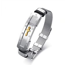 Men Boy Gold Silver Stainless Steel Cross Bracelet Bangle Wristband Cuff Chain s