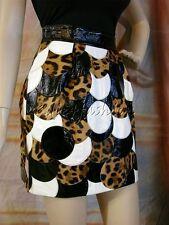 $3550 New DOLCE & GABBANA Brown Black White Leather Pony Hair Fur Skirt 42 8