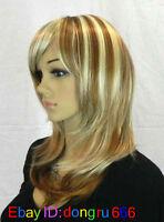 hot lady women long Vogue Blonde Fashion Wavy hair Wig + wigs cap