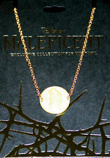 DISNEY MALEFICENT Silhouette CAMEO MEDALLION Necklace GOLD Tone HOT TOPIC PROMO
