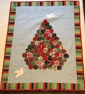 """Handmade Christmas Quilt Yo Yo Xmas Tree Applique Wall Hanging 46"""" X 37"""""""