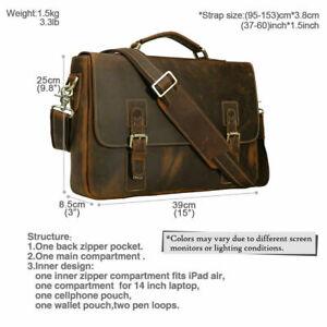 Genuine Leather laptop bag, Men's brown briefcase, Vintage messenger, Work bag