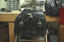 hand-made custom SaddleBag leather fringe saddle bag softail chopper motorcycle