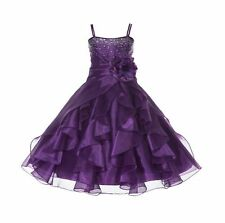 Wedding Organza Pleated Ruffled Flower Girl Dress Rhinestone Easter Pageant J120