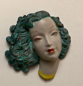 Goldscheider, Art Deco, Face Mask. Wall. Green hair.