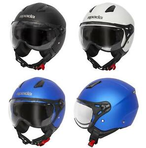 Spada Hellion Open Face Helmet Motorcycle Motorbike Scooter Matt Black White