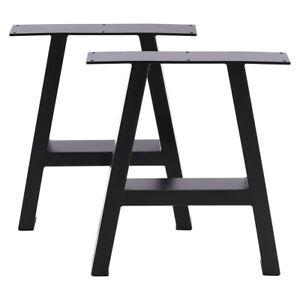 2x Industrial Steel Table Legs Stand Feet Trapezium X A Sandglass Shape Frame UK