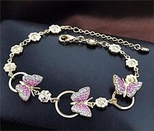 18k Gold Plated DIamante Crystals  Rhinnestone Butterfly Charm Bangle Bracelet