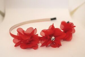 Nordstrom Maniere RED 3 Flowers Headband Metal Textile Headpiece Soft Fabric NW