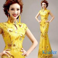 Chinese Womens Cheongsam Wedding Mermaid Long Fishtail Dress Ball Gown Sequins