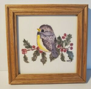 """Vintage Theorem Painting ~ Bird and Berries 6"""" Signed"""
