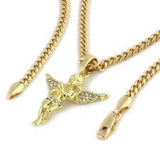 "Men's 14k Gold Plated High Fashion Angel Pendant 16k 3mm 24"" Hip Hop Cuban Chain"