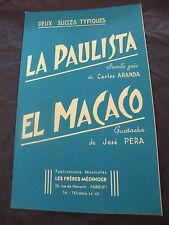 Partition La paulista Aranda El Macaco José Pera 1959 Music Sheet