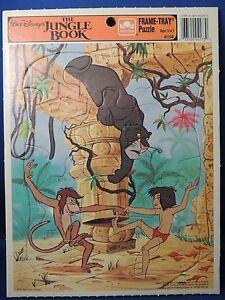 Disney The Jungle Book Golden Frame Tray Puzzle EUC Mowgli Bagheera Monkey
