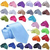 30 Colors Men's Tie Slim Skinny Solid Candy Color Plain Satin Narrow Necktie HKL
