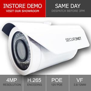 Securenet 4MP Onvif Varifocal 2.8-12mm IP PoE CCTV Camera Outdoor Night Vision