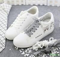 Cute Cat Womens Lace Up Wedge Hidden Heel Sneakers Casual Low Top Shoes Athletic