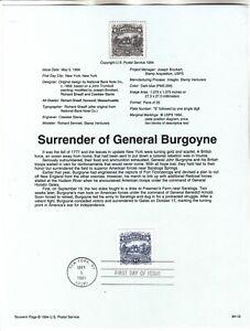 2590 $1 Surrender of Burgoyne USPS First Day Souvenir Page