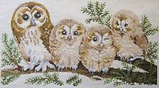 Cross Stitch Owls Completed Unframed 35cm x 20cm