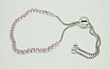 Authentic Pandora #590524PCZ-2 Sparkling Strand Adjustable Pink Bracelet